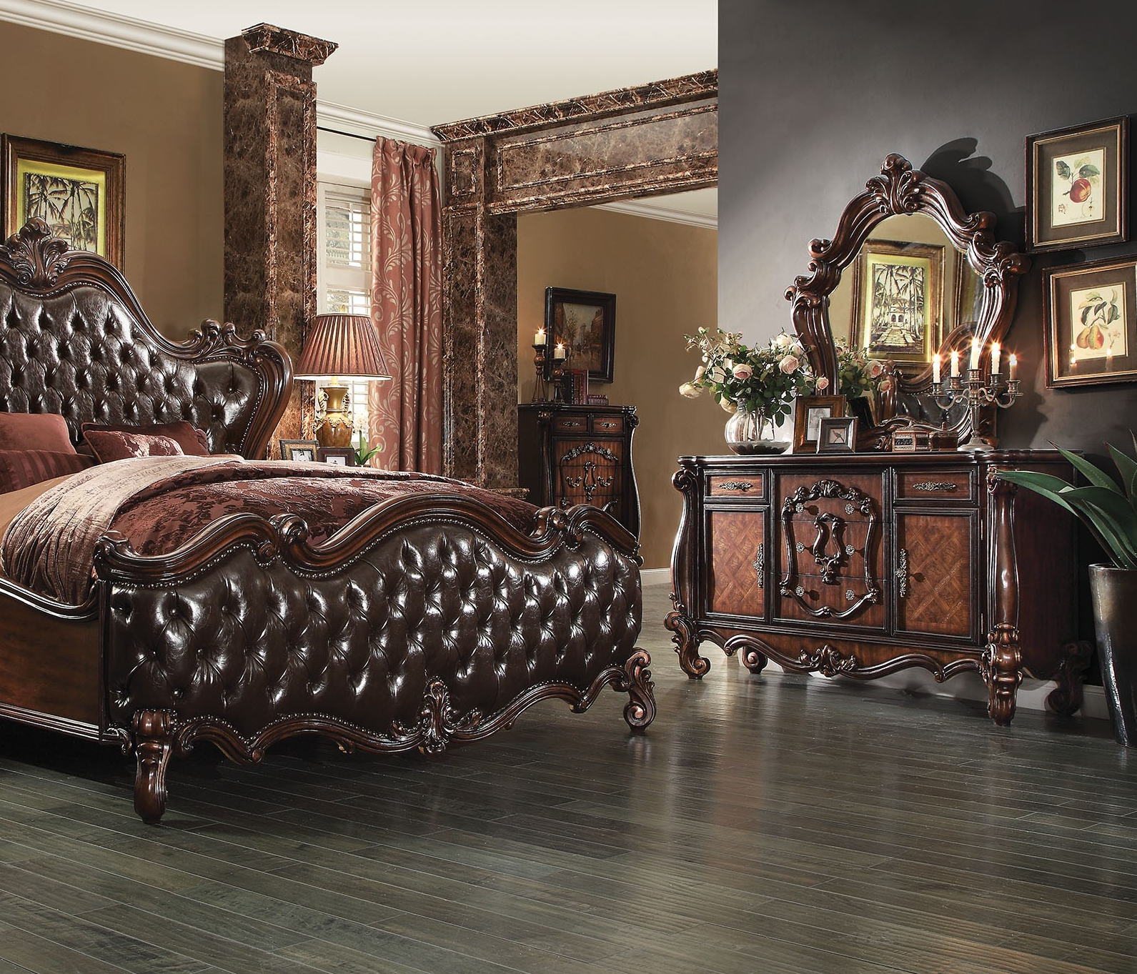 Formal Cal King Cherry Brown Bedroom Set Hot Sectionals