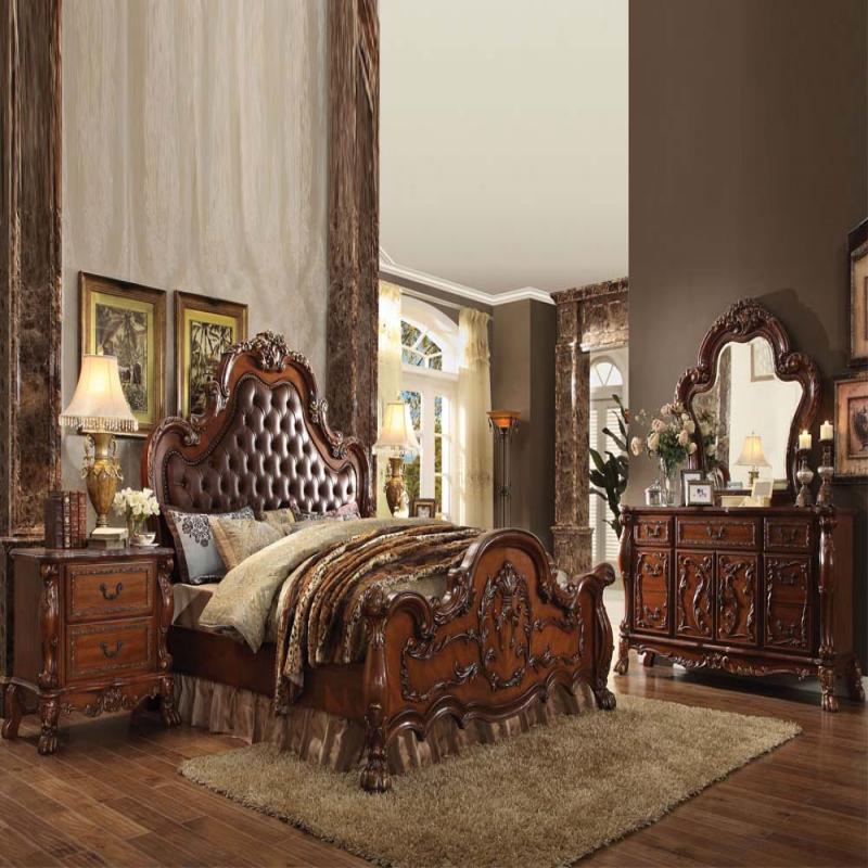 Cleveland Cherry Formal Traditional Antique Queen Bed 4pcs: Acme Furniture Queen Bedroom Set Cherry Oak #23140Q
