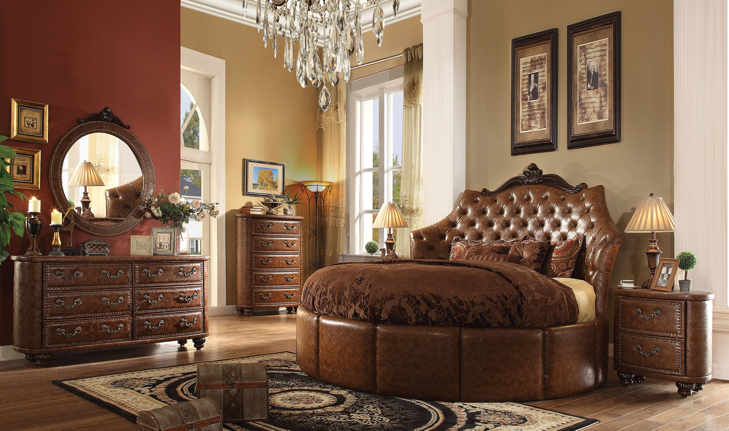 formal round cherry brown bedroom set acme hot sectionals