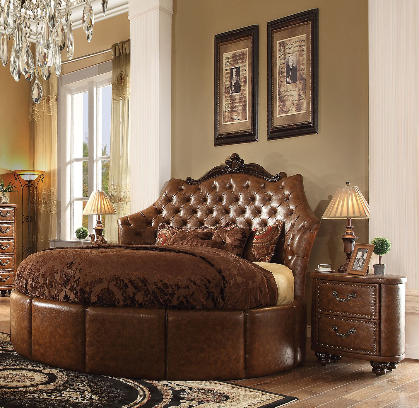 Formal round cherry brown bedroom set acme hot sectionals for Bedroom designs round beds