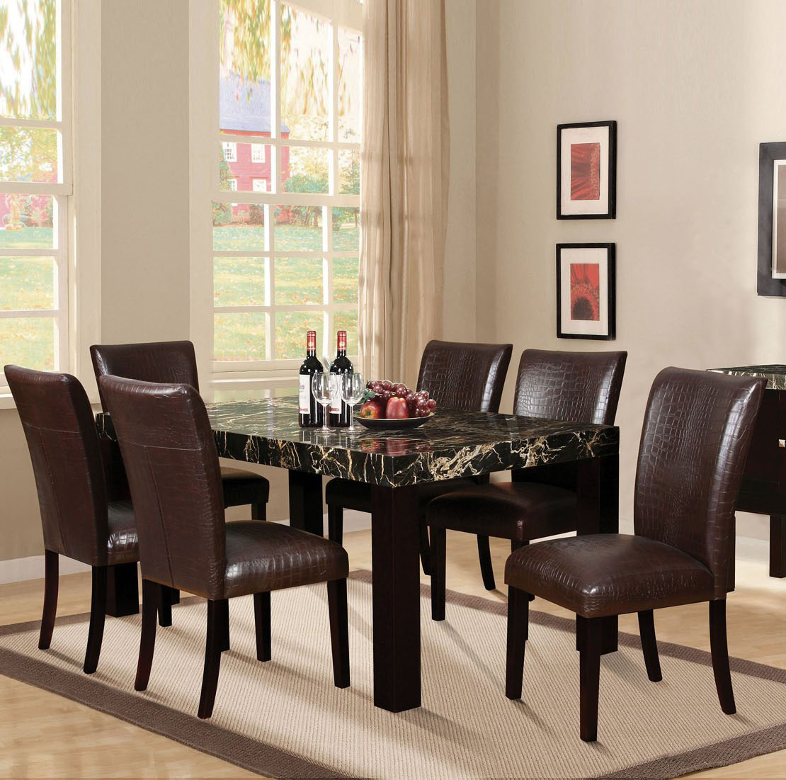 Modern Dining Set Marble Top Acme 70115