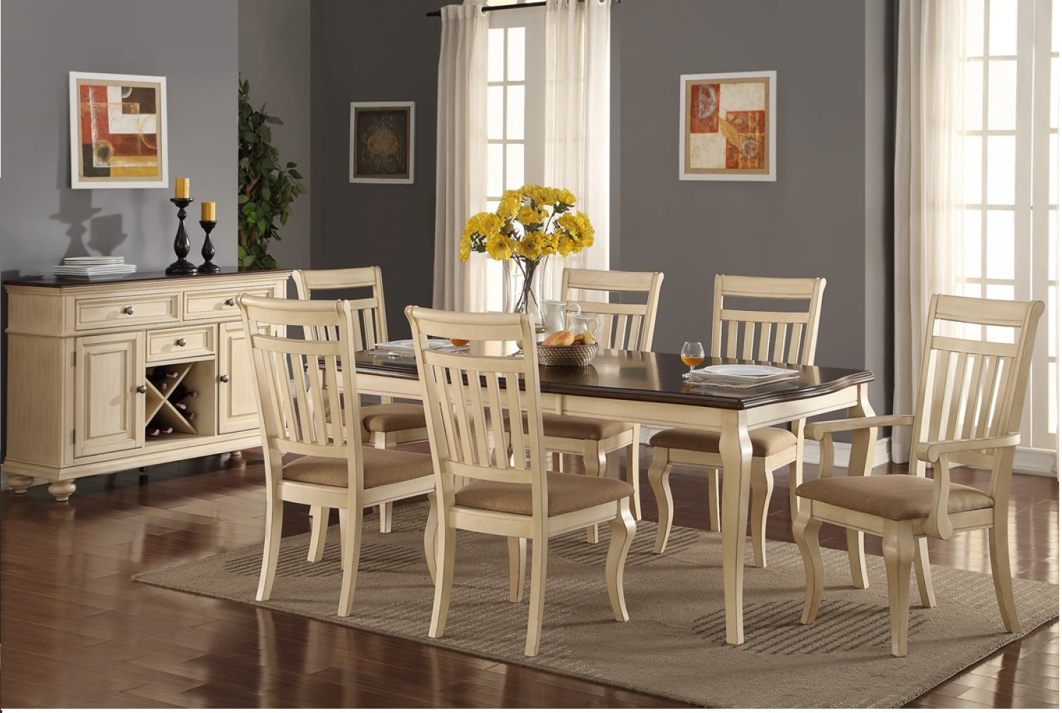 Traditional cream dining set poundex f hot sectionals