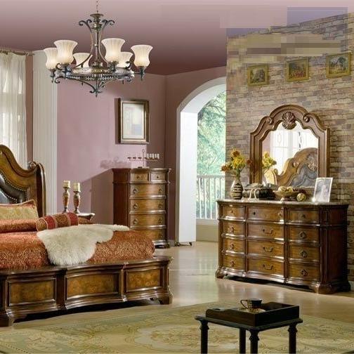 Formal Cal King 4pc Bedroom Set Pecan Walnut Hot Sectionals