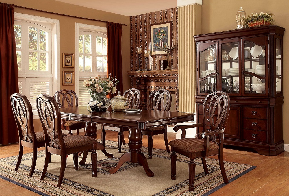 Dining Room Formal 7pc Dining Set Cherry Finish Dining