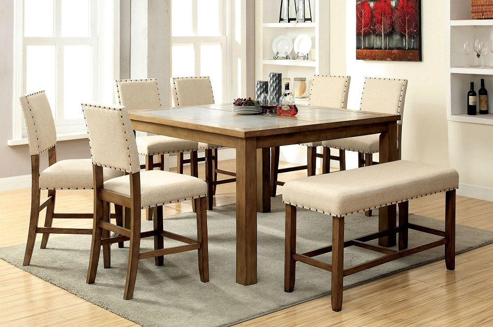 New Kitchen Dining Room Counterheight Dining Table Bench & 6 Side Chairs 8pc Set