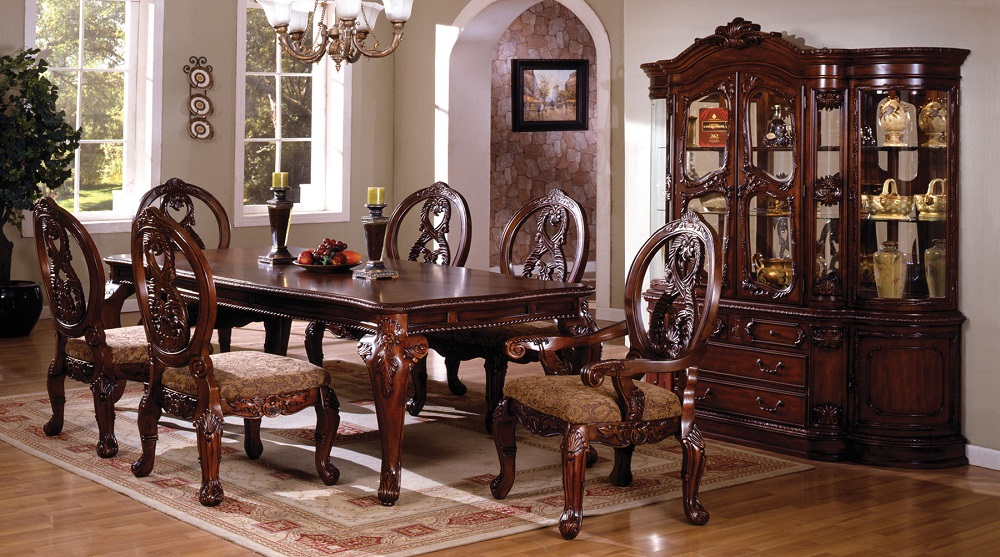 Dining room 7pc dining set formal dining table chairs for Cherry wood dining room set