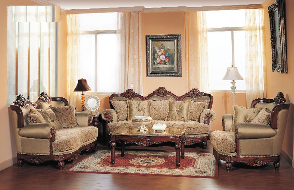 Formal Traditional Cherry Fabric Sofa Set Chair Hot