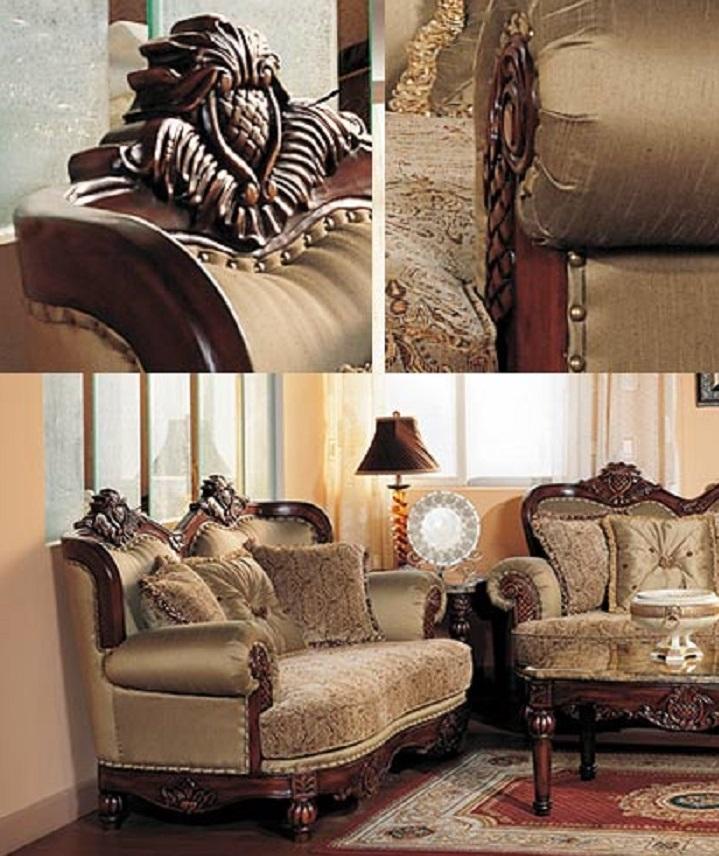 Traditional Living Room Sofa Sets: Formal Traditional Cherry Fabric Sofa Set Chair