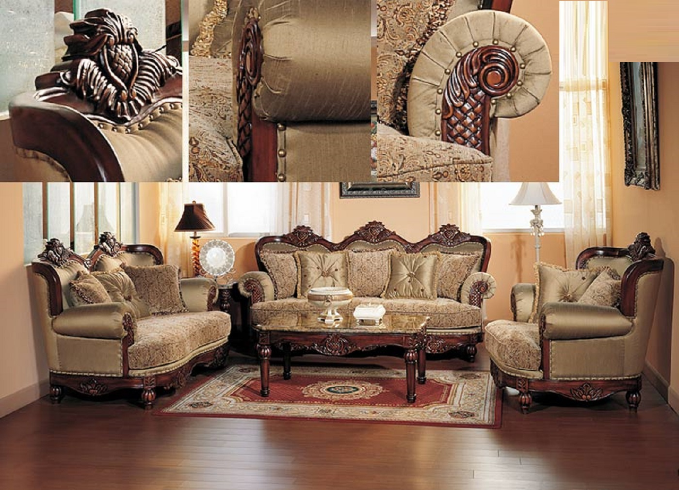 Antique Formal Traditional Sofa Set Sofa Couch Chair Living Room Set
