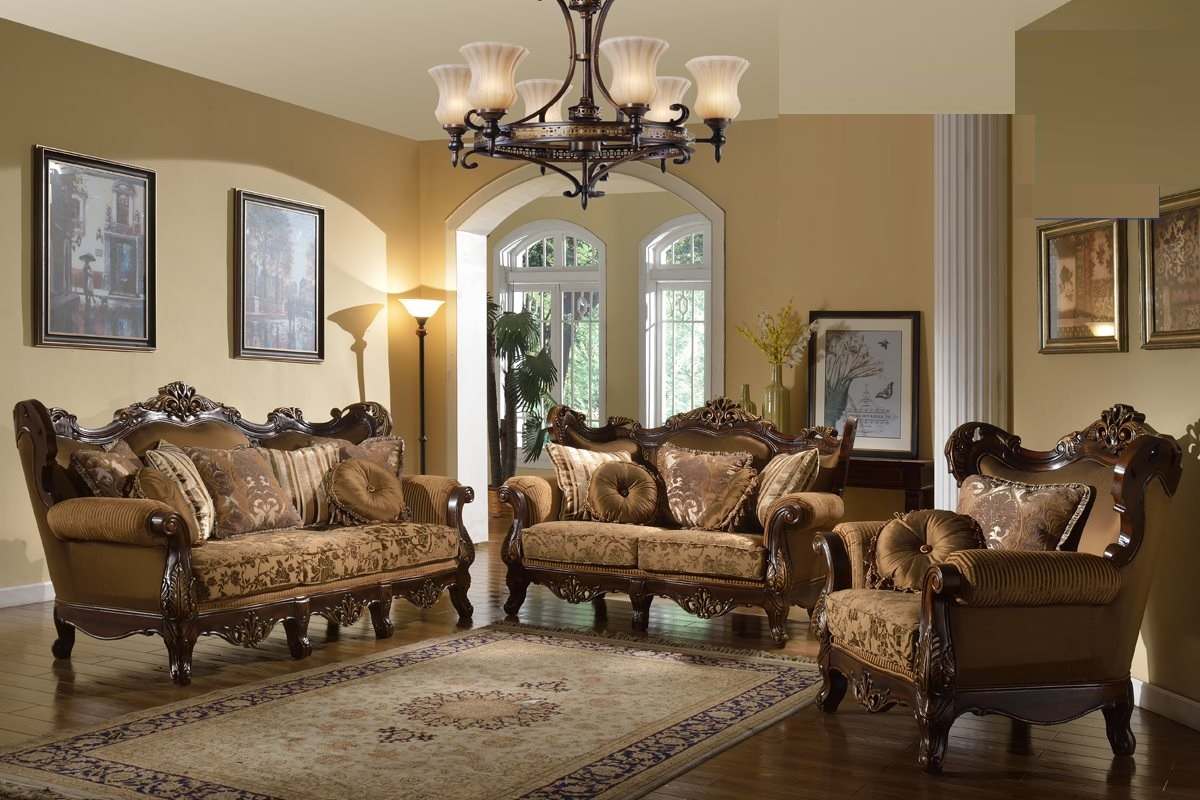Brown Fabric Traditional Sofa Set Formal Sofa Loveseat Chair