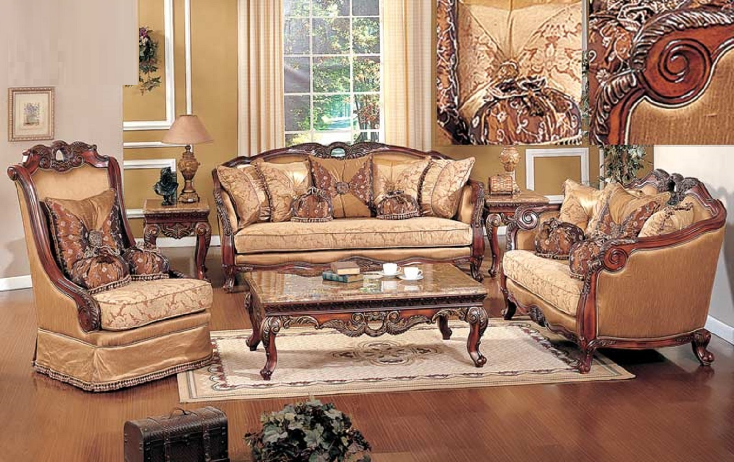 3pc Sofa Traditional Living Room Furniture Olive Copper Fabric Cherry Gold  Trim