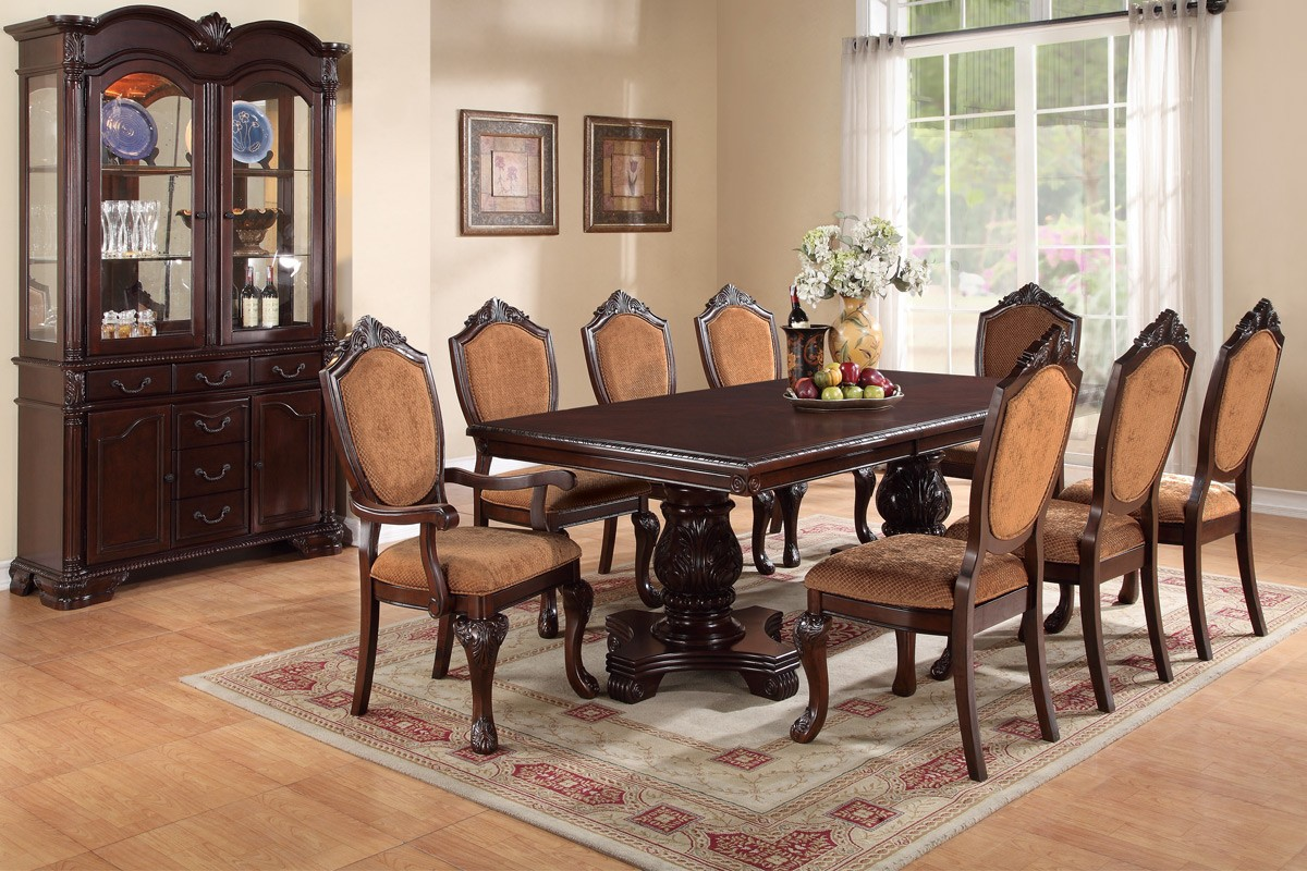formal dining room table | Formal 9pc Dining Faux Leather, Poundex | Hot Sectionals