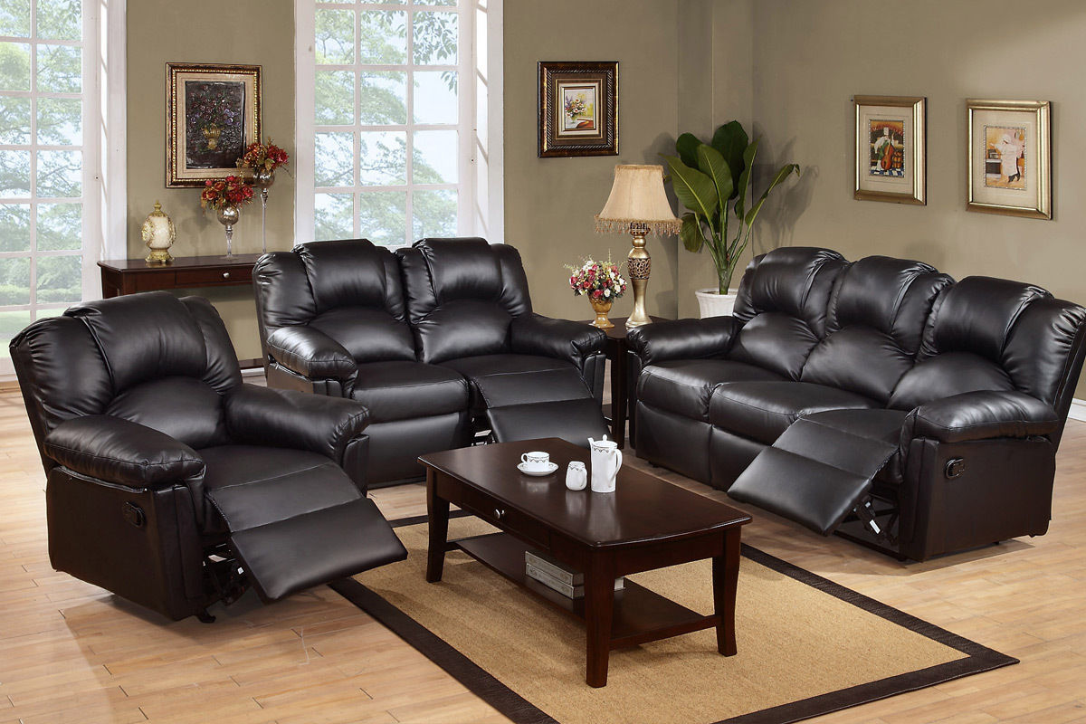 Reclining Set Motion Sofa Loveseat Recliner Chair Black Leather F6671