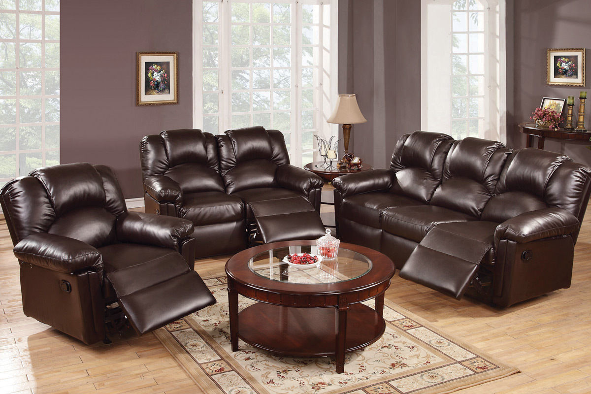 Motion Sofa Loveseat Recliner Leather Modern Poundex Sofa Set #F6674