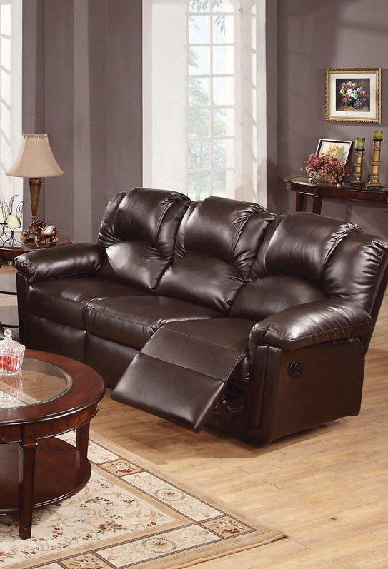 Poundex 3pc Sofa Set Leather Sofa Recliner F6674 Hot