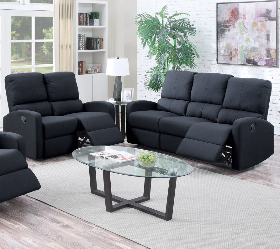 Poundex Recliner Sofa Set Black Modern F6735 Hot Sectionals