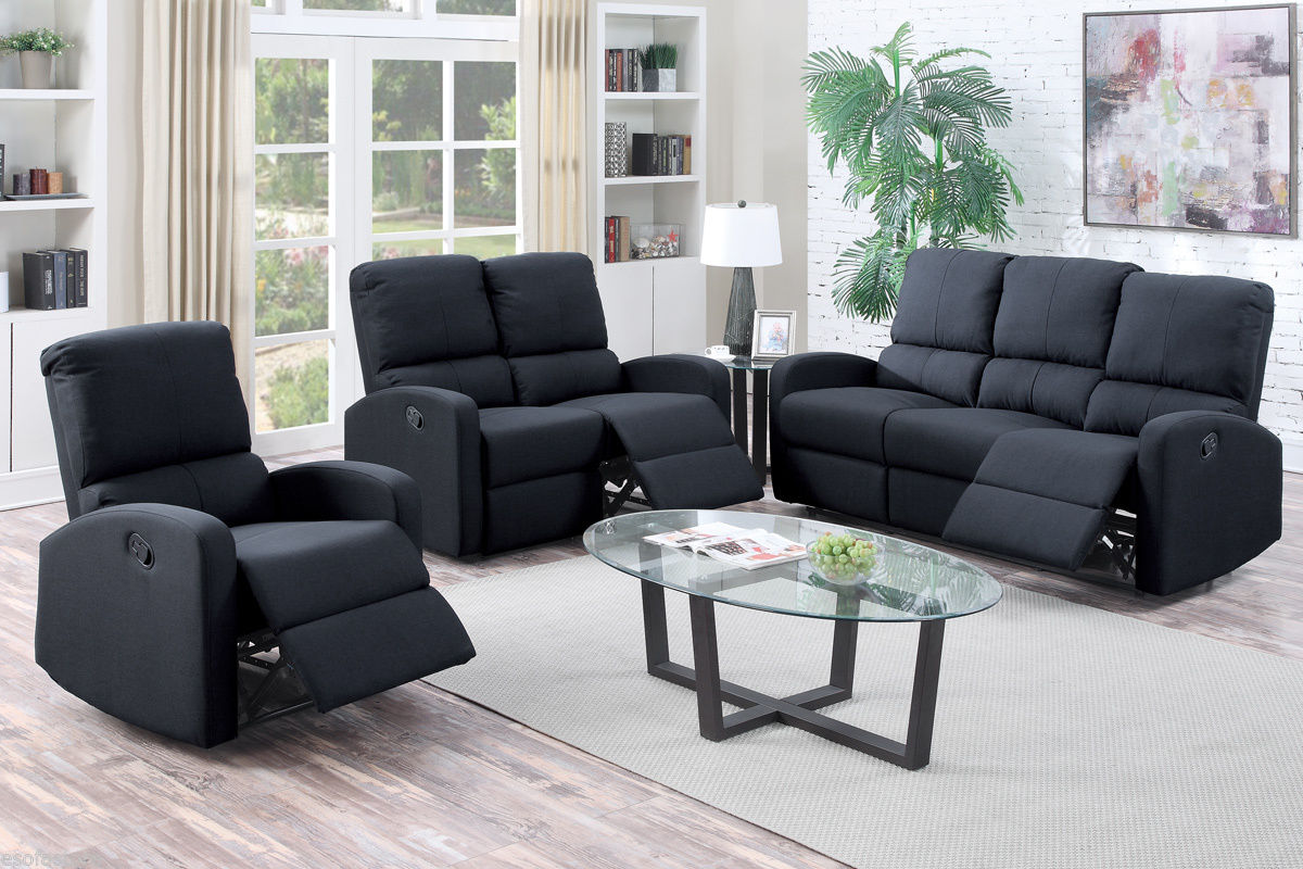 Black Modern Reclining Sofa Set Motion Sofa Loveseat Recliner Chair #F6735