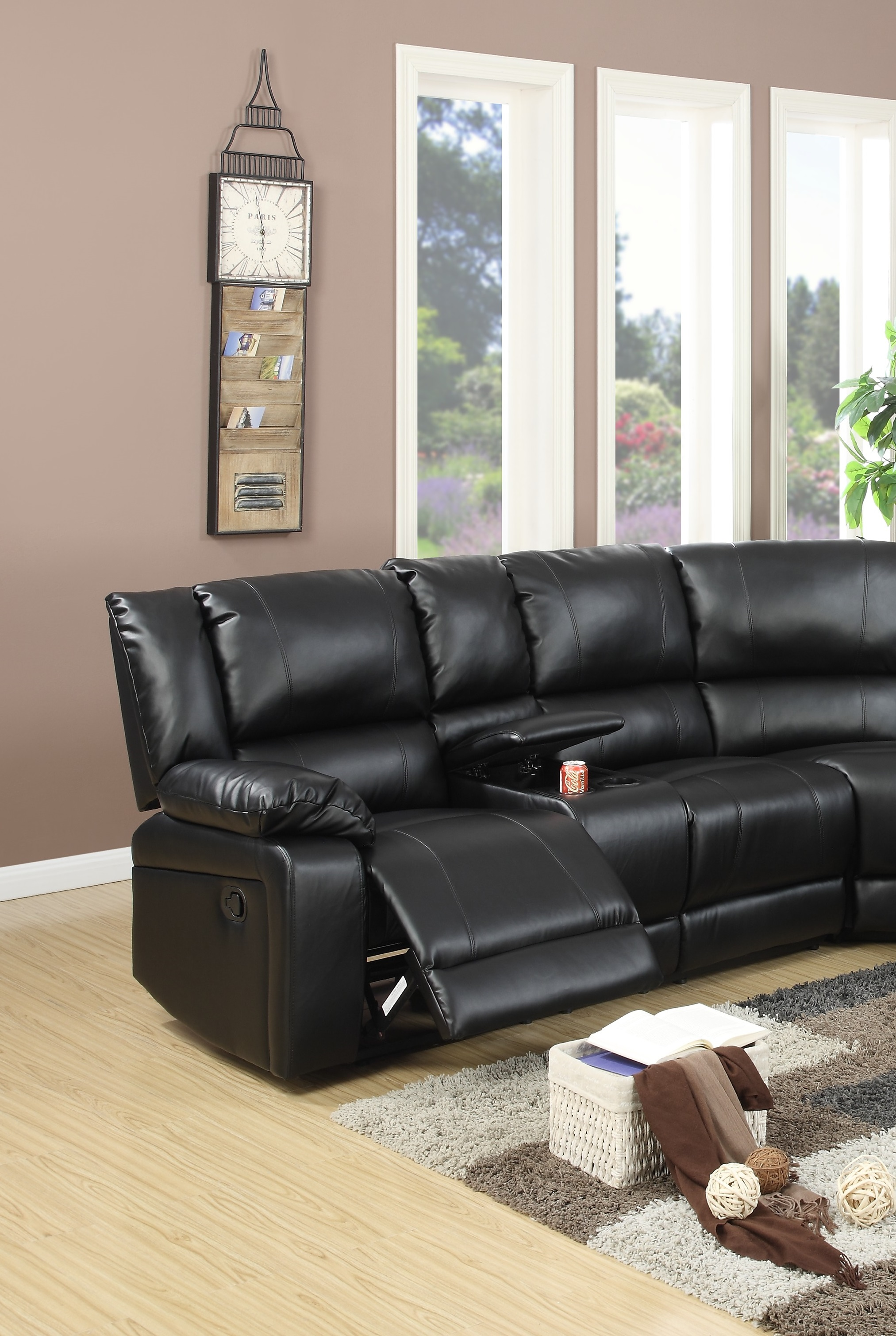 Sectional Black Leather Console Poundex F6745 Hot