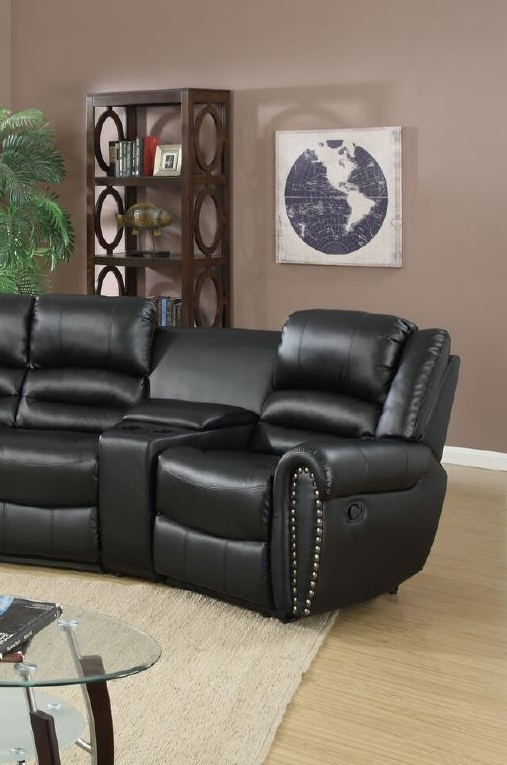 Reclining sectional console black leather poundex f6747 for Sectional sofa for home theater