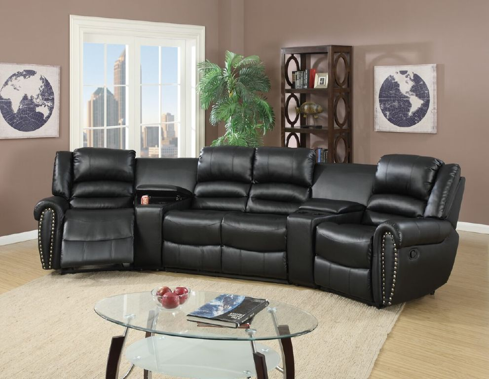 Reclining Sectional Console Black Leather Poundex F6747 Hot