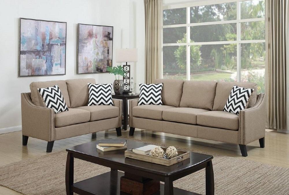 Sand Color Polyfiber Living Room 2pc Sofa Set Modern Sofa