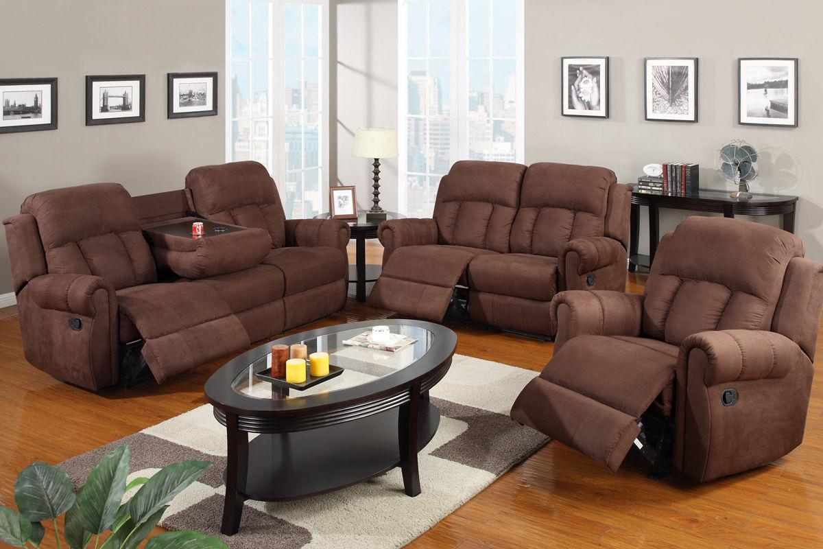 Excellent Reclining Sofa Set Chocolate Microfiber Couch Sofa Chair F7048 Machost Co Dining Chair Design Ideas Machostcouk