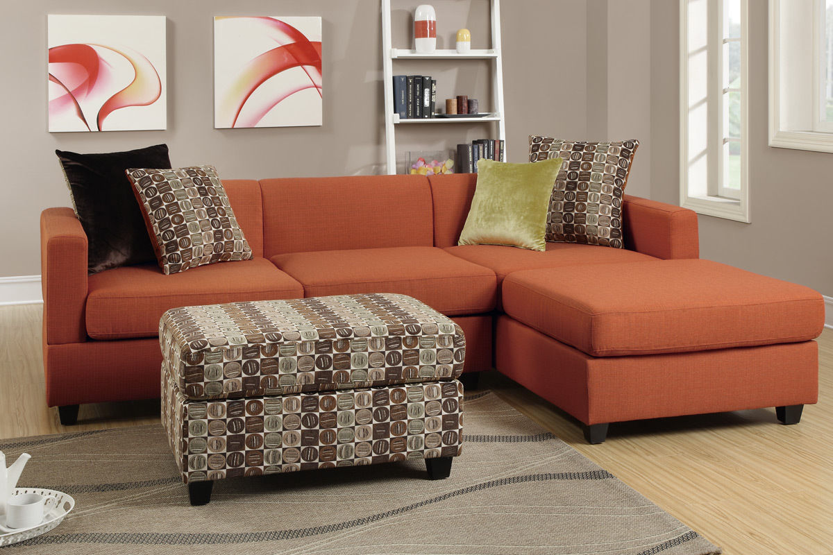 Sofa Reversible Chaise Sectional Poundex Hot Sectionals
