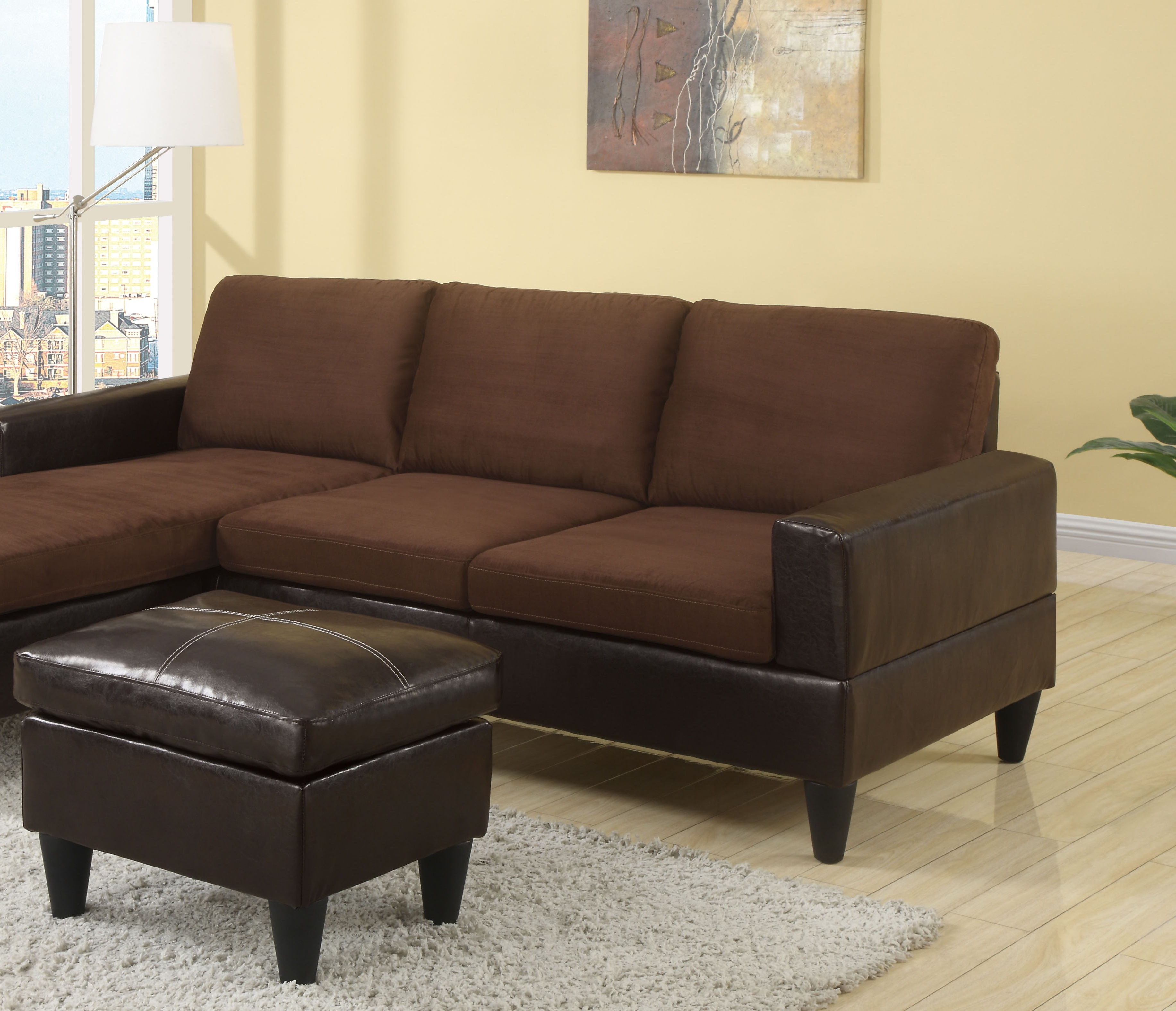 Poundex sectional w free ottoman leather hot sectionals for Bobkona sectional sofa with ottoman