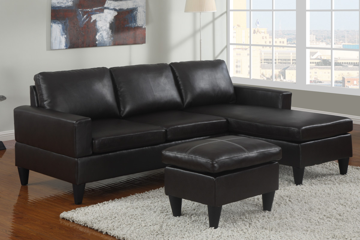 Tremendous Espresso Leather Sectional W Free Ottoman Modern Style F7296 Gmtry Best Dining Table And Chair Ideas Images Gmtryco