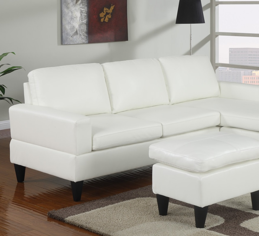 Cream sectional w ottoman modern poundex hot sectionals for Bobkona sectional sofa with ottoman