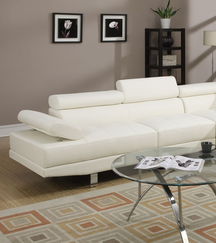 Poundex sectional sofa set white leather f7320 hot for Poundex white faux leather modern sectional sofa