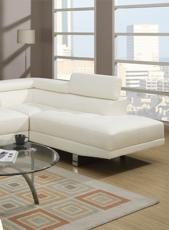Poundex Sectional Sofa Set White Leather #F7320
