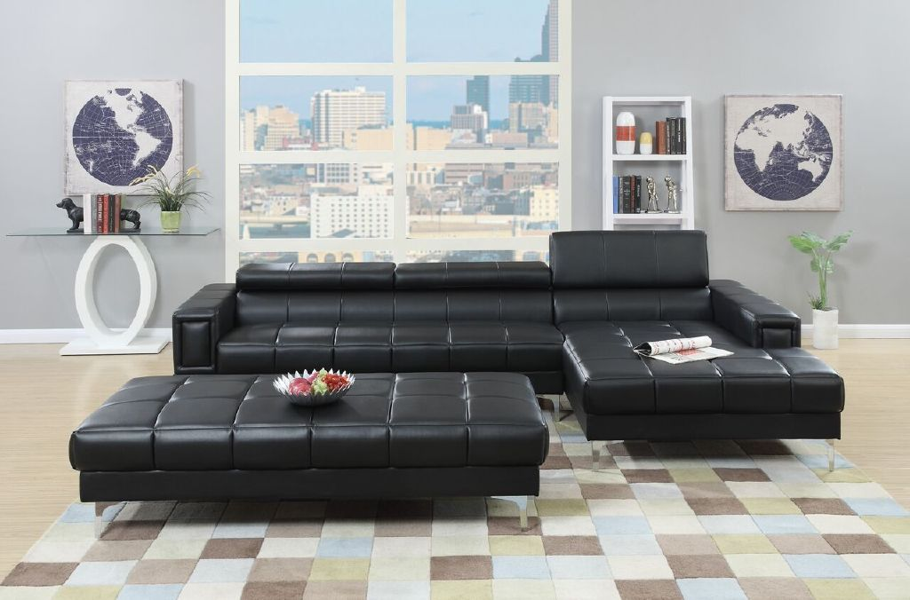Poundex Sectional Black Leather Set ottoman #F7363 | Hot Sectionals