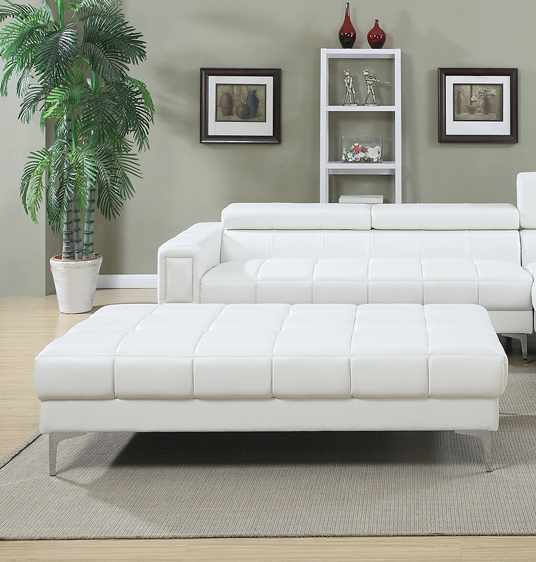 Sectional W Oversize Ottoman Modern White Leather Sofa Chaise F7364