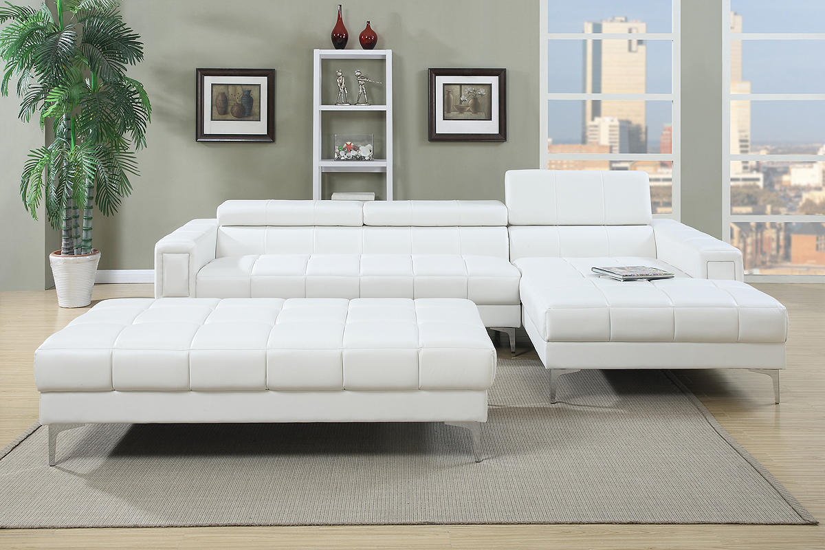 F7364 Stylish Modern White Sectional Adjustable Headrest Sofa Chaise