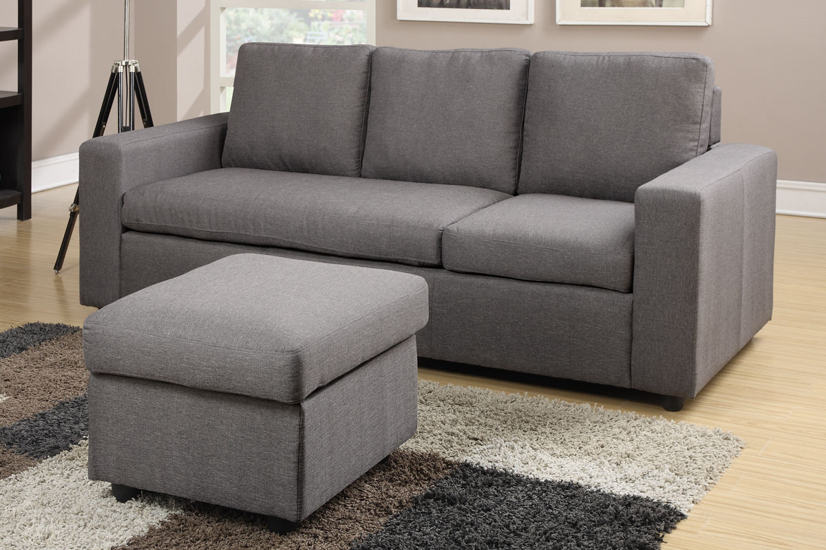 Reversible Sectional Sofa Couch Ottoman Poundex F7491