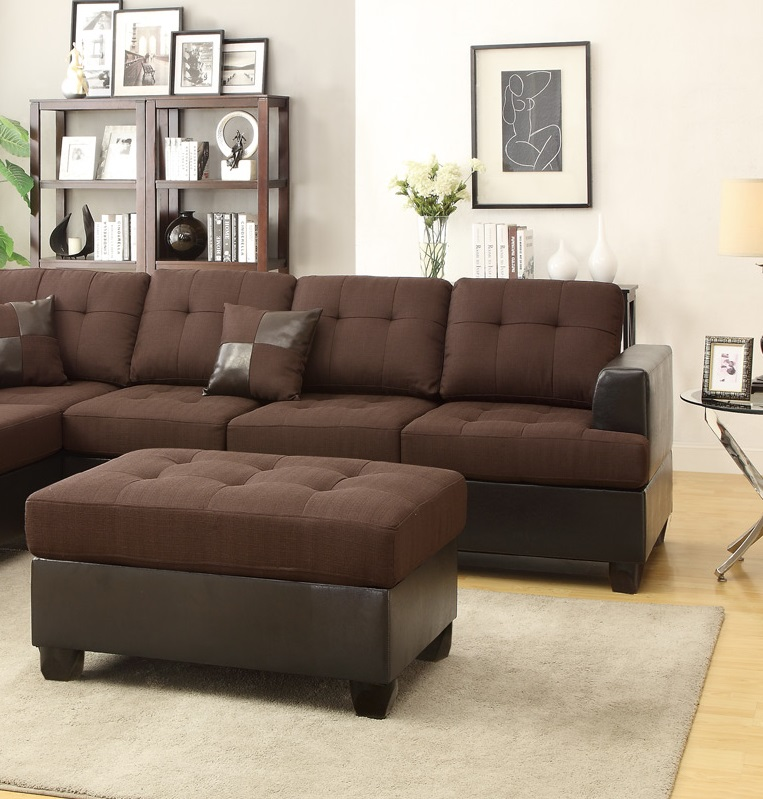 Modern reversible sectional poundex hot sectionals for Bobkona sectional sofa with ottoman