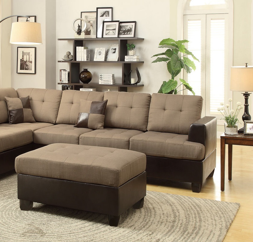 Reversible 3pc sectional modern poundex hot sectionals for Bobkona sectional sofa with ottoman