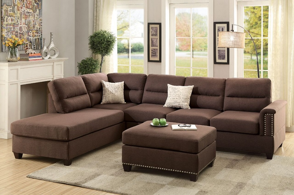 Living Room Sectional Sofa 3pcs Set Chocolate Polyfiber Modern Functional  Style Reversible Chaise Sofa Ottoman