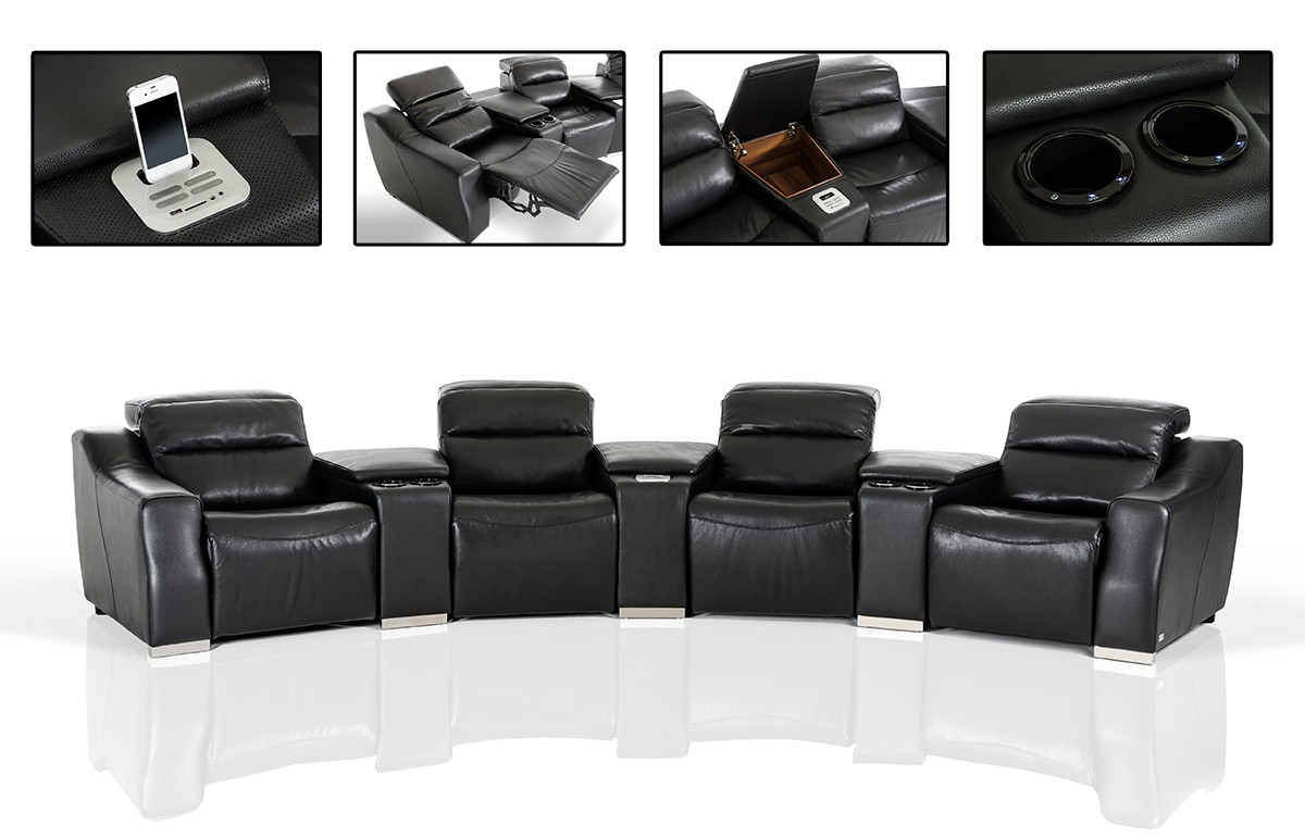 Modern Black Leather Recliner Sectional Sofa #VGKNE9020-ECOBLK