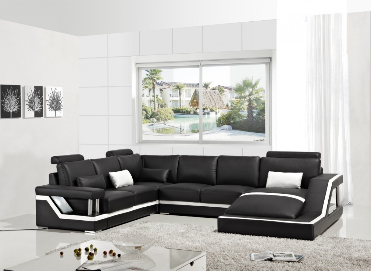Vig Furniture Modern Sectional Black Couch Vgyit271 Hot