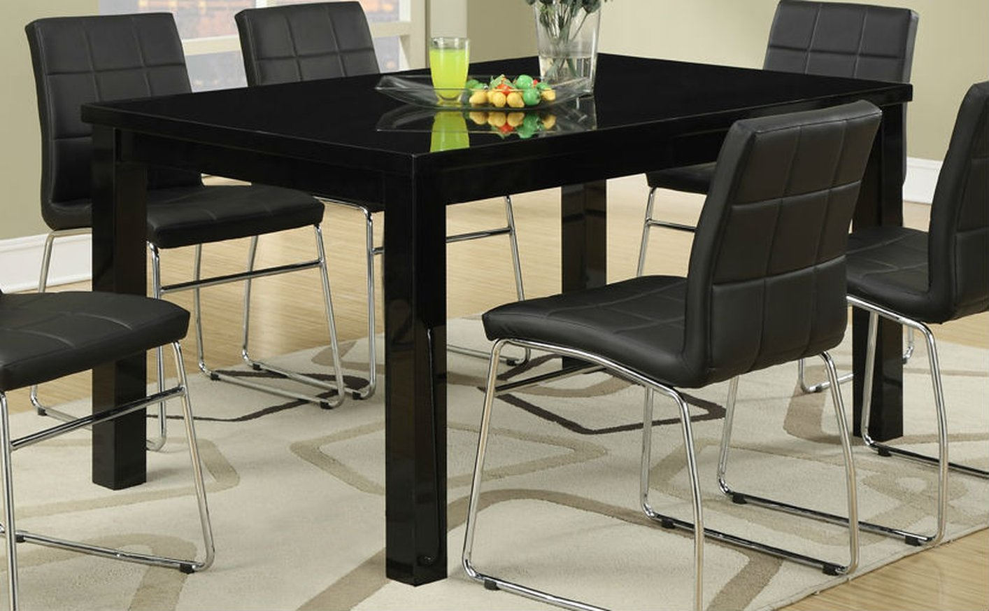 Black 7pc Upholstered Dining Set Poundex Hot Sectionals