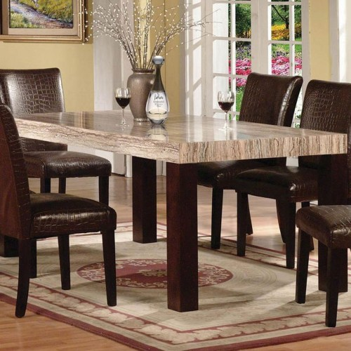 Faux Marble Casual Dining Set Acme 70130 Hot Sectionals