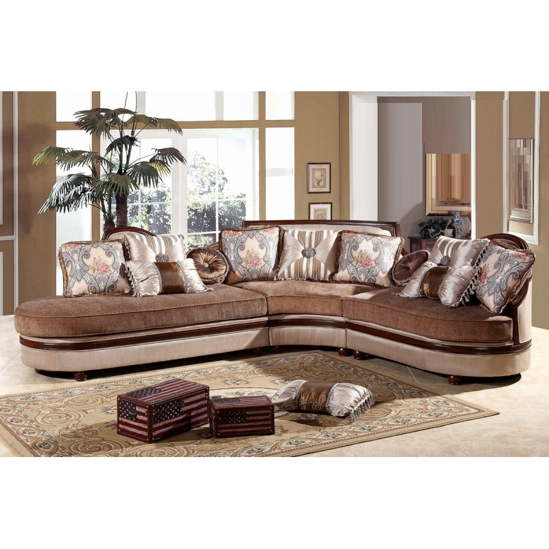 Formal traditional dark cherry wood sectional sofa set for Formal sofa sets