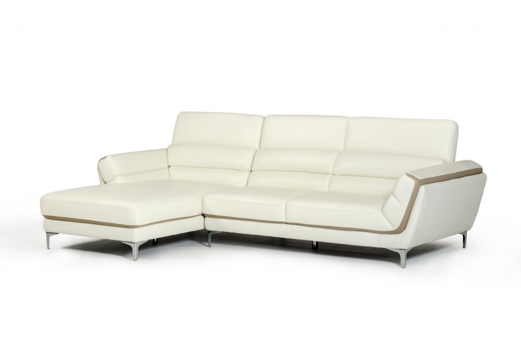 Divani casa longford modern white taupe genuine leather for Genuine leather sectional sofa with chaise