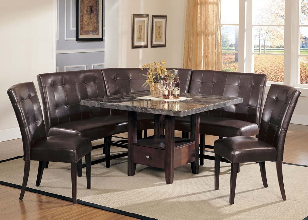 Modern antique espresso transitional walnut black marble Black marble dining table set