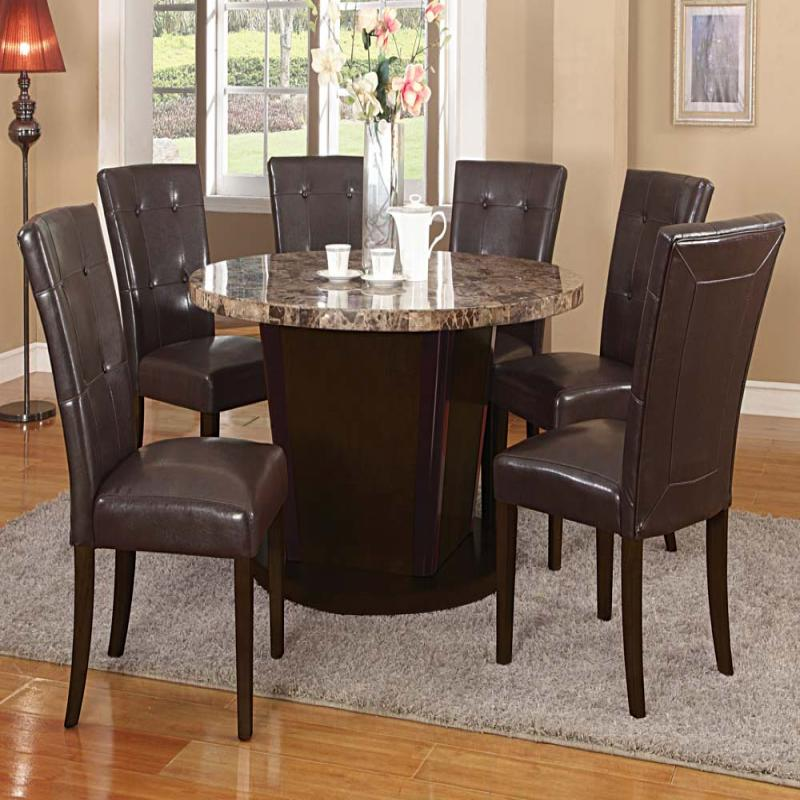 espresso transitional brown marble top round dining table