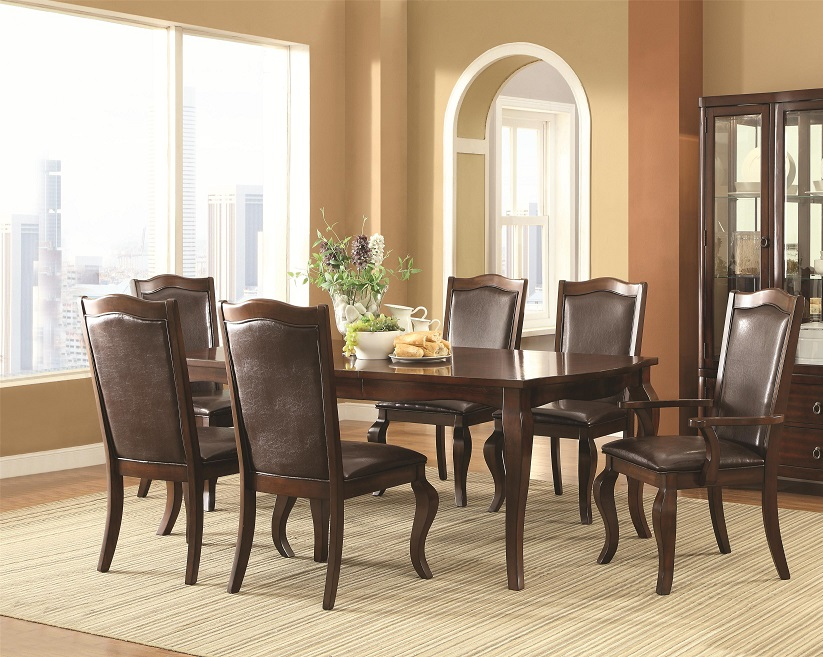 finish 7pc dining set table padded arm side chair dining room