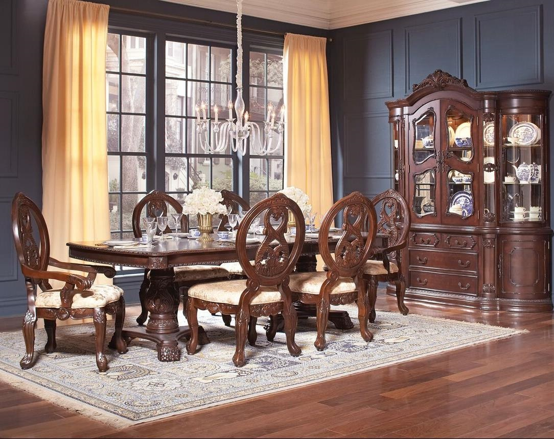 Formal dining table double pedestal dark cherry finish 7 for Cherry formal dining room sets