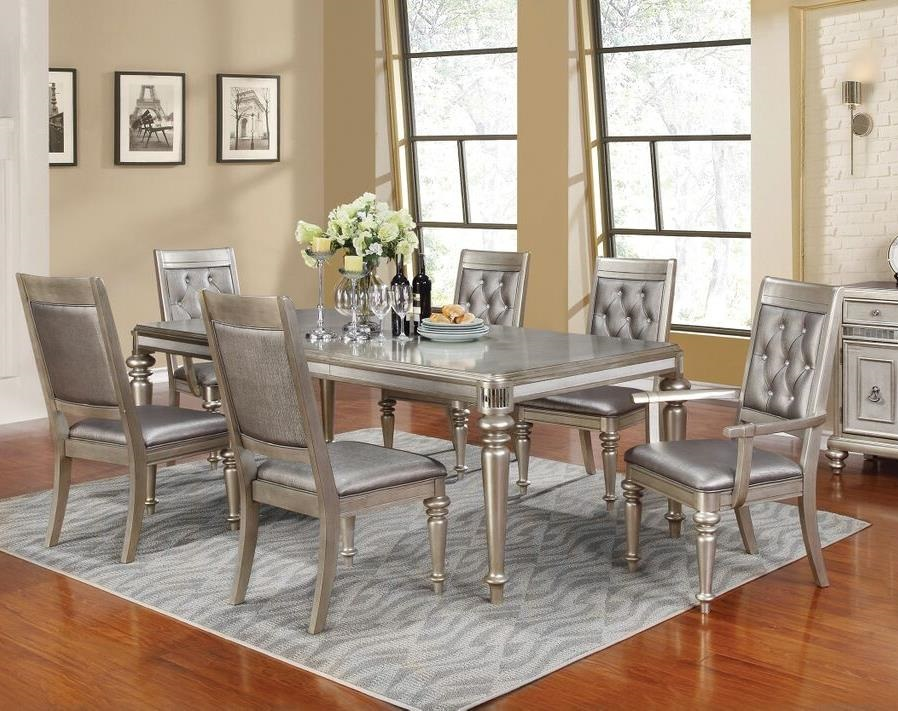 formal metallic platinum 7 piece dining set table arm side chairs dining room. Black Bedroom Furniture Sets. Home Design Ideas
